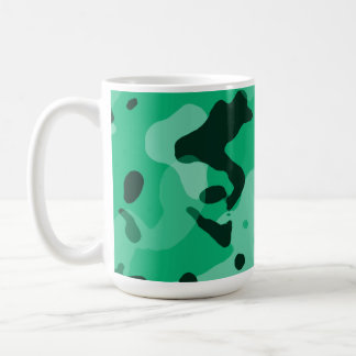 Jade Green Camo; Camouflage Basic White Mug