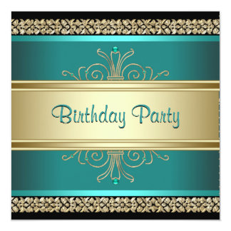 Jade Green Gold Black Womans Birthday Party 13 Cm X 13 Cm Square Invitation Card