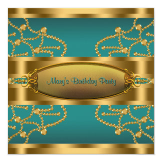 Jade Green Gold Womans Birthday Party 13 Cm X 13 Cm Square Invitation Card