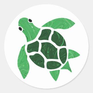 Jade Green Sea Turtle Mosaic Art Round Sticker