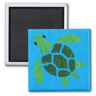 Jade Green Sea Turtle on Blue Ocean Background Square Magnet
