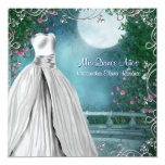 Jade Green Teal Blue Pink Roses Quinceanera 13 Cm X 13 Cm Square Invitation Card