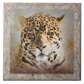 "Jaguar Collage Large (6"" X 6"") Ceramic Photo Tile"