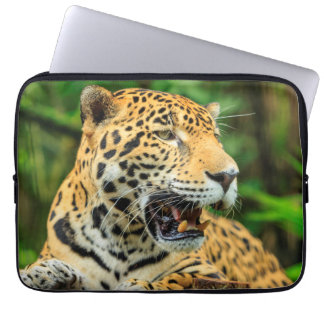 Jaguar shows its teeth, Belize Laptop Sleeve