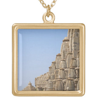 Jain temple in Chittorgarh Fort, India Gold Plated Necklace