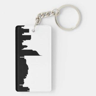jakarta city skyline silhouette indonesia Double-Sided rectangular acrylic key ring