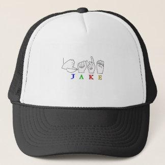 JAKE FINGERSPELLED NAME ASL SIGN TRUCKER HAT
