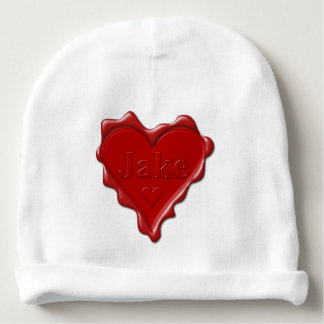 Jake. Red heart wax seal with name Jake Baby Beanie