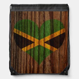 Jamaica Flag Heart on Wood theme Drawstring Bag