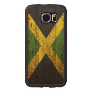 Jamaica Flag on Old Wood Grain Wood Phone Case