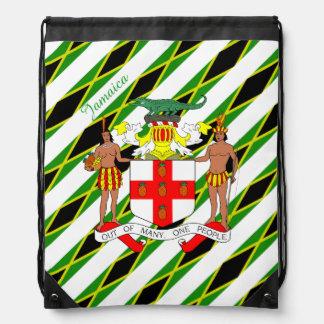 Jamaican stripes flag drawstring bag