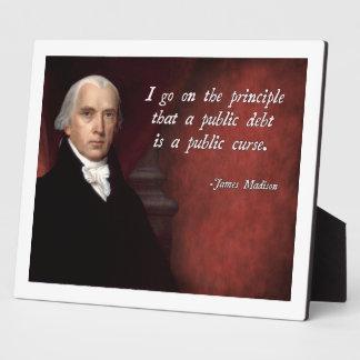 James Madison Debt Quote Plaque