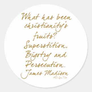 James Madison on christianity Classic Round Sticker