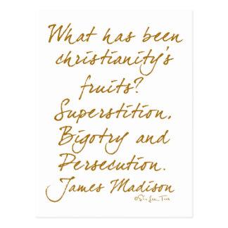 James Madison on christianity Postcard