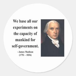 James Madison Quote 6b Classic Round Sticker