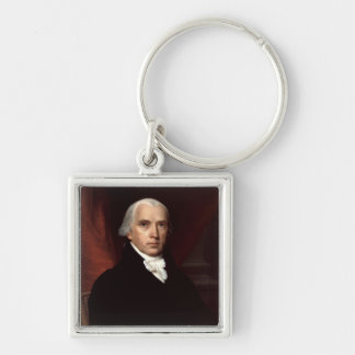 James Madison Silver-Colored Square Key Ring