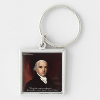 """James Madison """"War & Freedom"""" Wisdom Quote Gifts Silver-Colored Square Key Ring"""