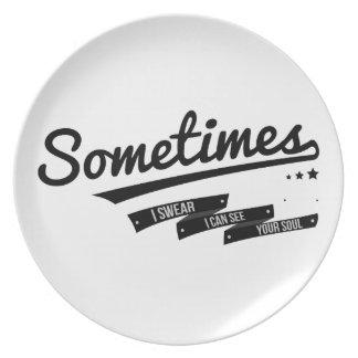 James - Sometimes Lyrics Retro Inspired Dinner Plate