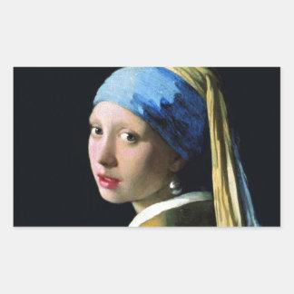 Jan Vermeer Girl With A Pearl Earring Baroque Art Rectangular Sticker