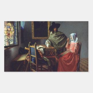 Jan Vermeer - The Glass of Wine Rectangular Sticker
