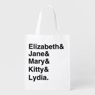 Jane Austen Typography List Grocery Bag (Black)