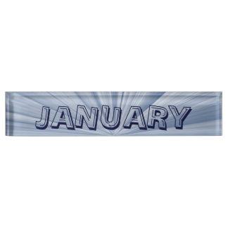 January Blue Star Desk Nameplate