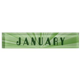 January Green Star Desk Nameplate