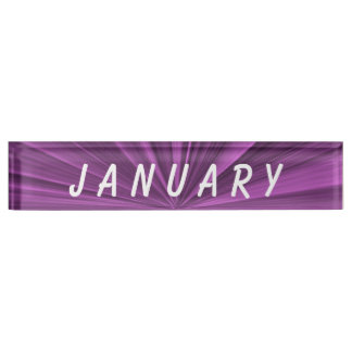 January Magenta Star Desk Nameplate