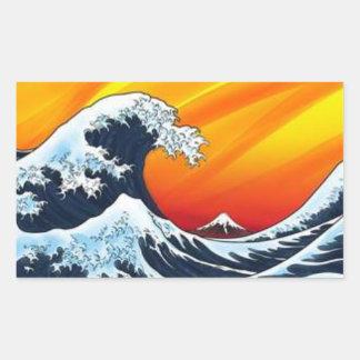 Japamese tidal wave rectangular sticker