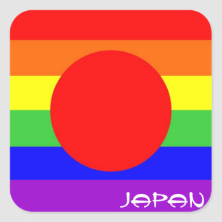 japan country gay proud rainbow flag homosexual square sticker