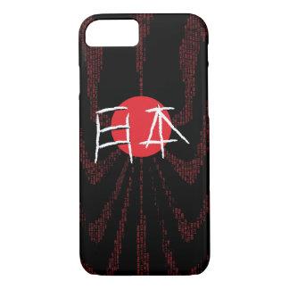 Japan Flag plus Japanese Fonts on Black Background iPhone 7 Case