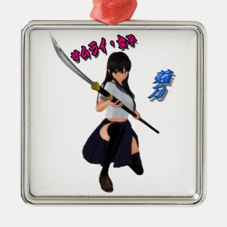 JAPAN/GIRL/LADY/SAMURAI/ANIME/GAME/JAPANESE/KANJI/ Silver-Colored SQUARE DECORATION