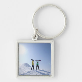 Japan, Hokkaido, Niseko 2 Silver-Colored Square Key Ring