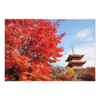 Japan, Kyoto. Kiyomizu temple in Autumn color Photographic Print
