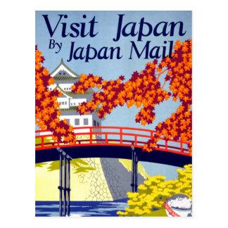 Japan Vintage Travel Poster Restored Postcard