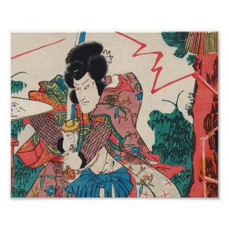 Japanese Art - A Samurai With Swor In Kabuki Show Photo
