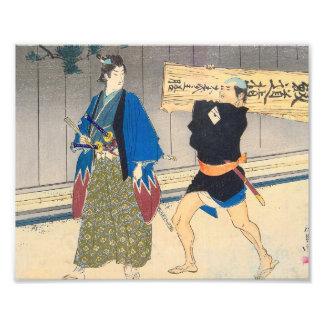 Japanese Art - Samurai And His Servant Photograph