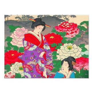 Japanese Art  - Two Women Talking In Rose Garden Photo