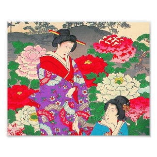 Japanese Art  - Two Women Talking In Rose Garden Art Photo