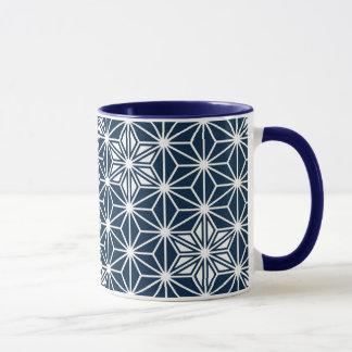 Japanese Asanoha pattern - indigo blue & white Mug