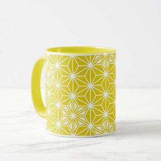 Japanese Asanoha pattern - mustard gold and white Mug
