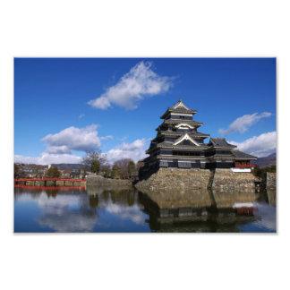 Japanese Castle surrounded by blue castle moat Art Photo
