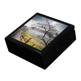 Japanese Cherry Landscape Trinket Box