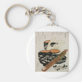 Japanese Dishware and Fish circa 1800s Basic Round Button Key Ring