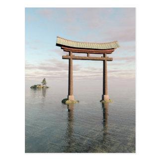 Japanese Floating Torii Gate at a Shinto Shrine Postcard