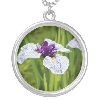 Japanese Iris Ensata Thunb Flowers Round Pendant Necklace