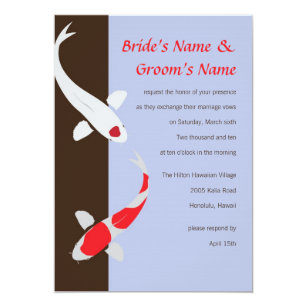 Japanese koi invitations announcements zazzle japanese koi wedding invitation lavender stopboris Choice Image