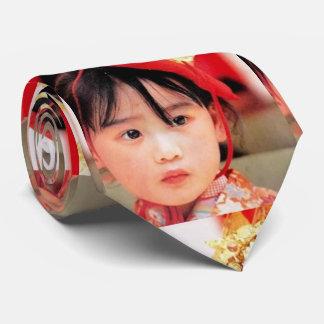 Japanese Little Girl Wearing a Kimono Tie