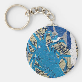 Japanese Lobster and Bird Painting c. 1800's Key Ring