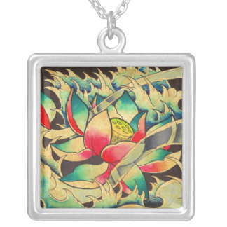 Japanese Lotus Flower Silver Plated Necklace
